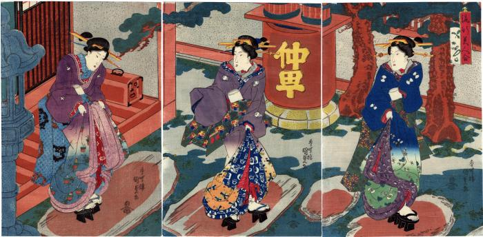 <i>Comparison of Popular Beauties</i> (<i>Ryūkō Bijin Awase</i> - 流行美人合), three geisha at Nakachō (仲町 送り)