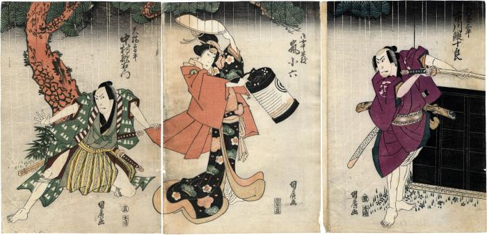 Ichikawa Ebijūrō I (市川鰕十郎) as Matsunami Sanpei (松並三平) on the right, Arashi Koroku IV (嵐小六) as the waiting maid Saeda (御女中早枝) in the center, and Nakamura Utaemon III (中村歌右衛門) as Ohashi Sohei (大橋曽平) on the left
