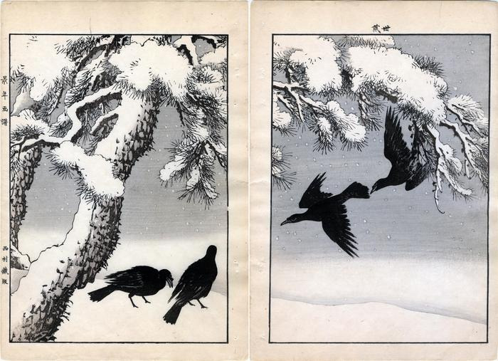 Black pine under snow, large-billed crows - from <i>Keinen kachō gafu</i> ('Album of Bird-and-Flower Pictures by Keinan' - 景年花鳥画譜)