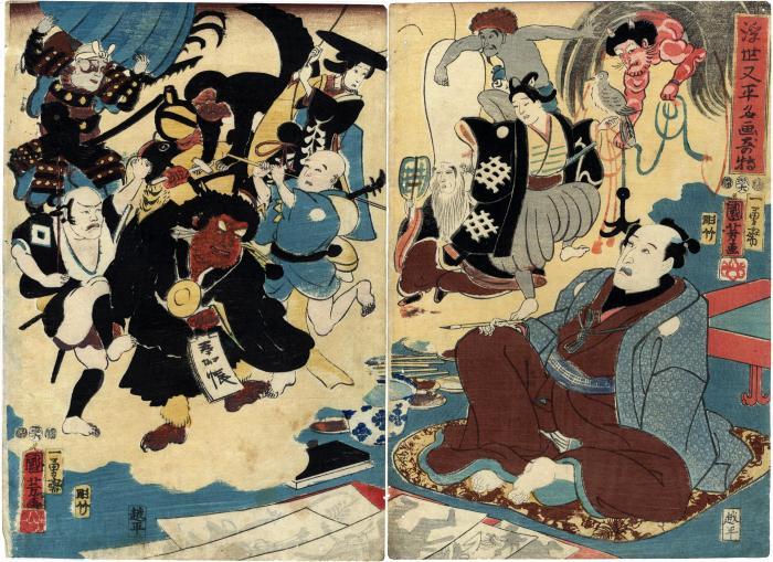 Ichikawa Kodanji IV (市川.小団次) in the <i>Miraculous Paintings by Ukiyo Matabei</i> (<i>Ukiyo Matabei meiga kitoku</i> - 浮世又平名画奇特)