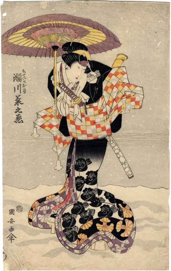 Segawa Kikunojō V (瀬川菊之丞) as the thief Hotei no Oichi  (布袋のお市) - left panel of a triptych