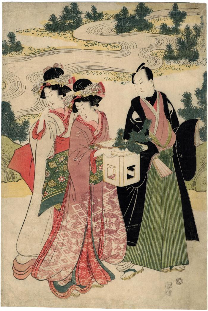 Sawamura Gennosuke I with two <i>bijin</i> gathering pine branches or a New Year's celebration from the series 十二組の内 (<i>Jūni kumi no uchi</i>)