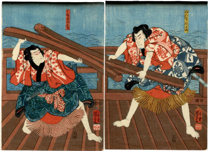 Ichimura Uzaemon XIII as the wrestler Chōkichi (はなれ駒長吉) and Nakamura Utaemon IV as the wrestler Chōgorō (ぬれ髪長五郎) from the play <i>Diary of Two Butterflies in the Pleasure Quarters</i> (<i>Futatsu Chōchō Kuruwa Nikki</i> - 双蝶仝曲輪日記)
