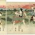 Ichikawa Ebijūrō I (市川鰕十郎) as Ukisu no Iwamatsu (うきすの岩松) on the right, Arashi Kitsusaburō II (嵐吉三郎) as the farmer Jusaku (百姓十作) in the center,  Sawamura Kunitarō II (沢村國太郎) as Jusaku's wife [<i>nyōbō</i>] Okinu (十作女房お絹) on the left in <i>Keisei kakehashi monogatari</i> (けいせい棧物語)