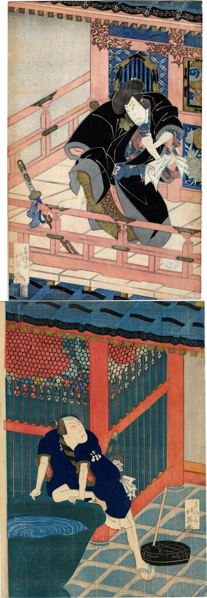 Vertical diptych. Top: Nakamura Shikan II (中村芝翫) as Ishikawa Goemon (石川五右衛門). Bottom: Ichikawa Ebizō V (市川海老蔵) as Hisayoshi Mashiba(真柴久よし)