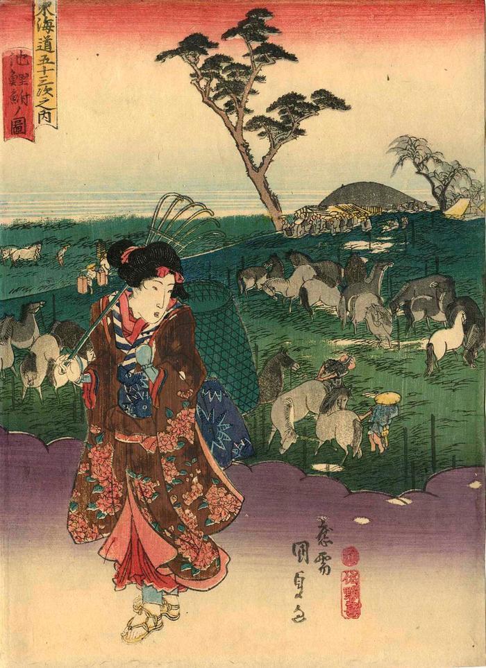 View of Chiryū (<i>Chiryū no zu</i>: 池鯉鮒ノ図) from the chuban series Fifty-three Stations of the Tōkaidō Road (<i>Tōkaidō gojūsan tsugi no uchi</i>: 東海道五十三次之内)