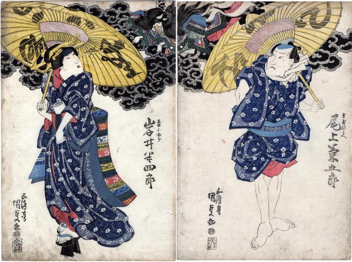 Diptych: Tamamo no Mae with Iwai Hanshirō  V (岩井半四郎) as Katsusaya Kojorō (かつさや小女郎) on the left and Onoe Kikugorō III (尾上菊五郎) as Tamaya Shimbei (三浦屋新兵へ) on the right in the play <i>Shinjū to tare mo yūdachi</i>  (心中誰夕立)