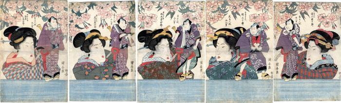 Pentatych of <i>bijin</i> holding puppets of <i>kabuki</i> actors as <i>otokodate</i> - from the left - Bandō Mitsugorō III (坂東三津五郎) as An no Heibei (安ノ平兵衛), Onoe Kikugorō III (尾上菊五郎) as Gokuin Sen'emon (極印千右衞門), Matsumoto Kōshirō V (松本幸四郎) as Kaminari Shōkurō (雷庄九郎), Seki Sanjūrō II (関三十郎) as Hotei Ichiemon (布袋市右衛門) and Ichikawa Danjūrō VII (市川團十郎) as Karigane Bunshichi (雁金文七)