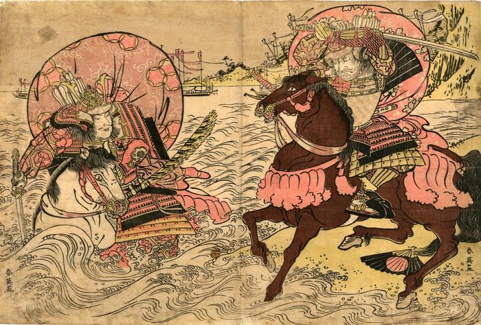 Shore battle between Taira no Atsumori and Kumagi Naozane