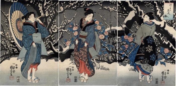 Triptych of <i>Plum Blossoms in the Evening Snow</i> (<i>Tsumoru yo no ume</i> - つもる夜の梅)