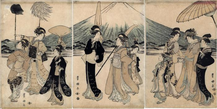 Elegant women with attendants in a parody of a daimyō's procession - this is the center 3 of 5 panels