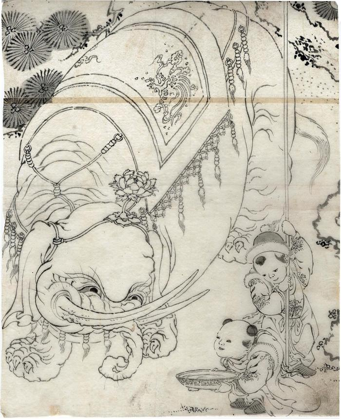 Chinese children and an elephant from the <br>
