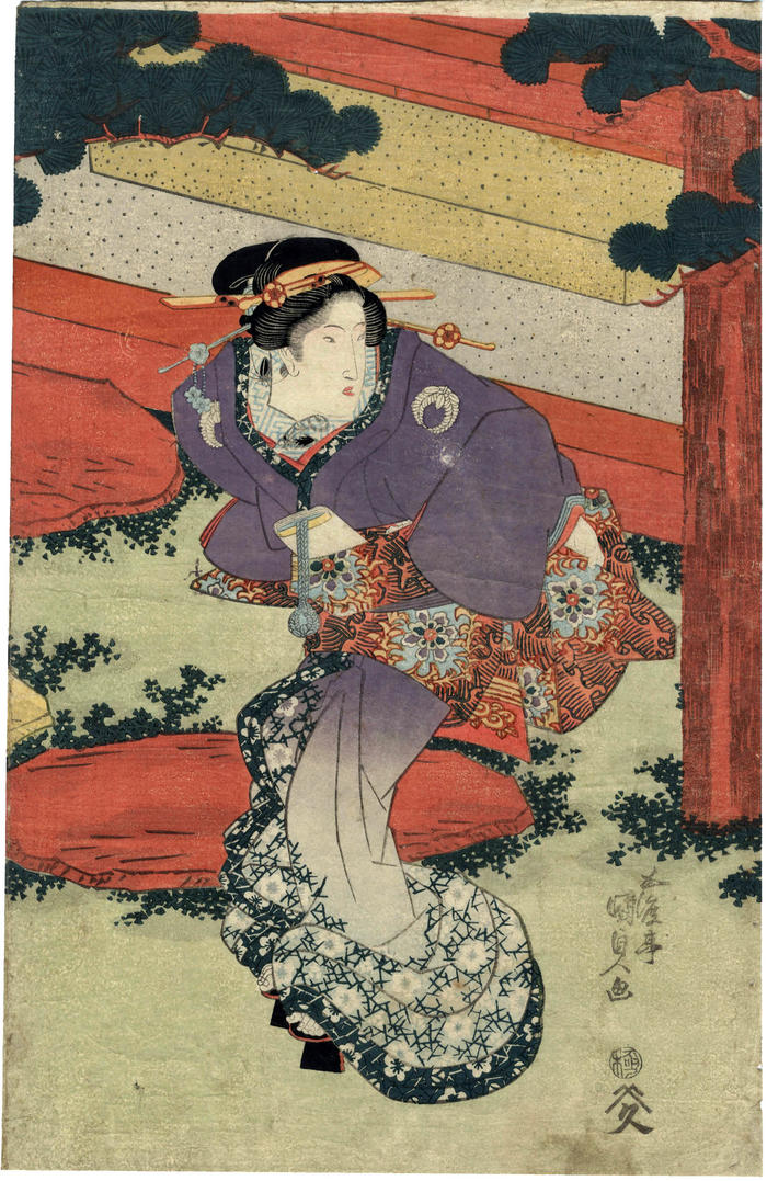 A beautiful, elegant woman standing outside the entry to a building which houses the Chūshuntei restaurant [柱春亭]  - center panel of a triptych