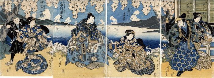 Arashi Kano I (あらし加納) as the wife Omatsu (嫁おまつ), Arashi Rikan II (嵐璃寛) as Watanabe Ryosuke (渡辺良助) on the right, Fujikawa Tomokichi II (藤川友吉) as Azuma (あづま) to the left of the previous one, Ichikawa Danzō V (市川団蔵) as Yodoya Tatsugorō (淀屋辰五郎) and Nakayama Ittoku II (中山一徳) as the gentlewoman Otsugi (こしもとおつぎ) on the left, in the play <i>Keisei Yanagizakura</i> [けいせい楊柳桜]